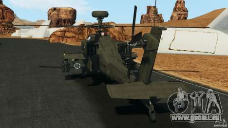 Boeing AH-64 Longbow Apache v1.1 pour GTA 4 Vue arrière de la gauche