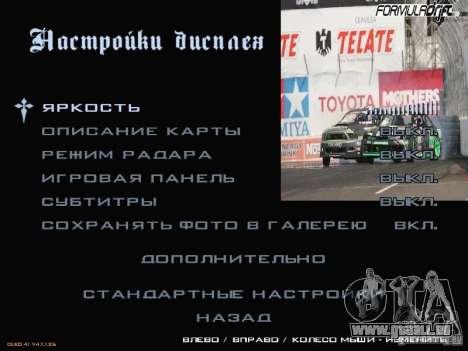 Formule menu de style Drift pour GTA San Andreas cinquième écran