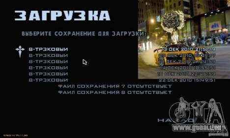Rapide et le furieux menu 3 pour GTA San Andreas troisième écran