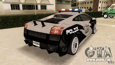 Lamborghini Gallardo Police pour GTA Vice City sur la vue arrière gauche