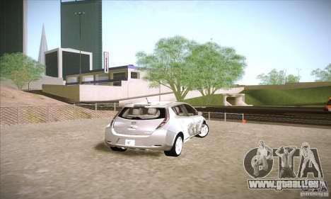 Nissan Leaf 2011 pour GTA San Andreas sur la vue arrière gauche