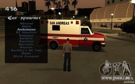 Vehicles Spawner pour GTA San Andreas sixième écran