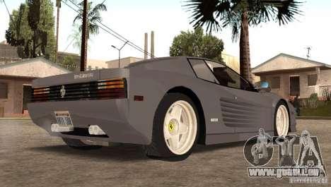 Ferarri Testarossa 1991 pour GTA San Andreas laissé vue
