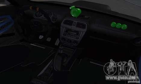 Subaru Impresa WRX light tuning pour GTA San Andreas vue intérieure