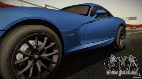 Dodge Viper GTS 2013 pour GTA San Andreas sur la vue arrière gauche