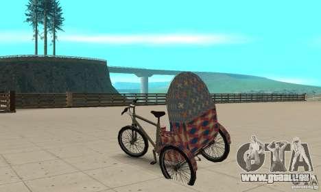 Manual Rickshaw v2 Skin5 pour GTA San Andreas sur la vue arrière gauche
