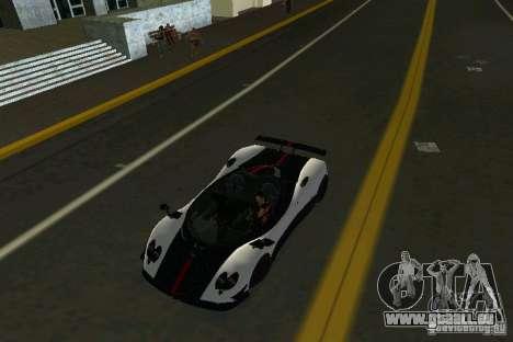 Pagani Zonda Cinque Roadster 2010 pour une vue GTA Vice City de la droite