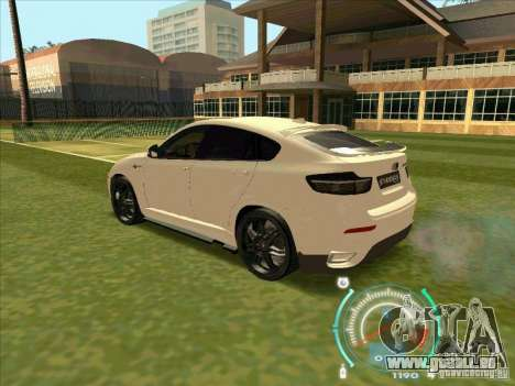 BMW X6 M Hamann Design pour GTA San Andreas vue arrière