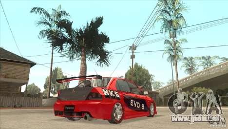 Mitsubishi Evo 8 Tuned pour GTA San Andreas vue de droite