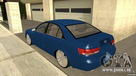 Hyundai Sonata NF pour GTA San Andreas sur la vue arrière gauche