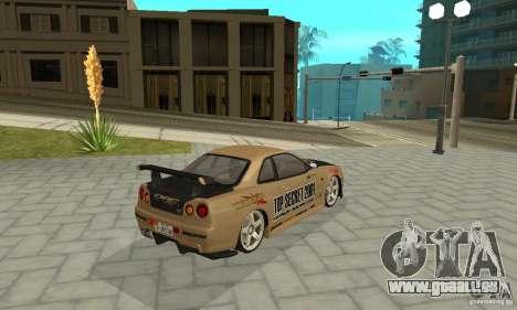 Nissan Skyline R-34 GTR pour GTA San Andreas roue