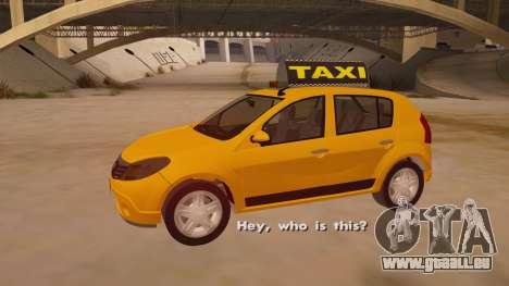 Renault Sandero Taxi pour GTA San Andreas vue de côté