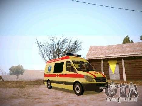 Mercedes Benz Sprinter Ambulance pour GTA San Andreas sur la vue arrière gauche