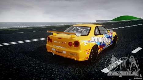 Nissan Skyline R34 GT-R Tezuka Goodyear D1 Drift für GTA 4 Seitenansicht