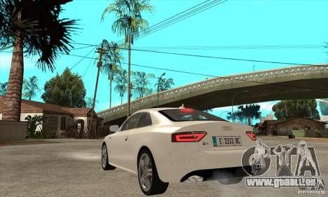 Audi S5 2008 pour GTA San Andreas sur la vue arrière gauche