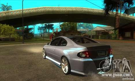 Holden Monaro CV8-R Tuned pour GTA San Andreas sur la vue arrière gauche