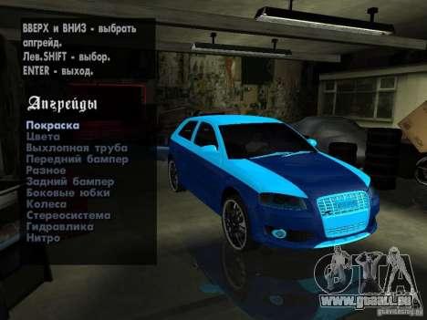 Audi S3 2006 Juiced 2 pour GTA San Andreas vue intérieure