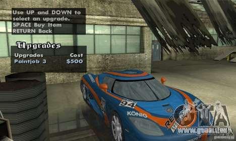 Koenigsegg CCX (v1.0.0) pour GTA San Andreas vue de côté