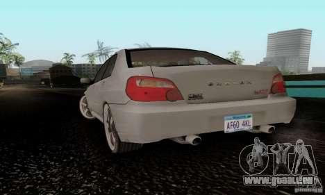 Subaru Impreza WRX STi TUNEABLE pour GTA San Andreas laissé vue