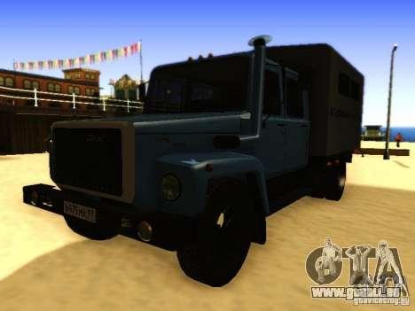 GAZ 3309 zweireihige für GTA San Andreas zurück linke Ansicht