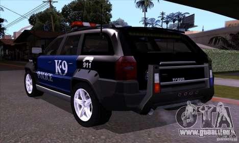 NFS Undercover Police SUV pour GTA San Andreas sur la vue arrière gauche