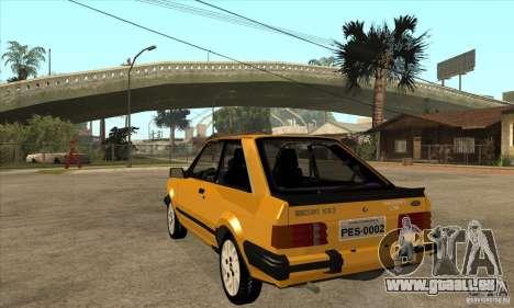 Ford Escort XR3 1986 pour GTA San Andreas sur la vue arrière gauche