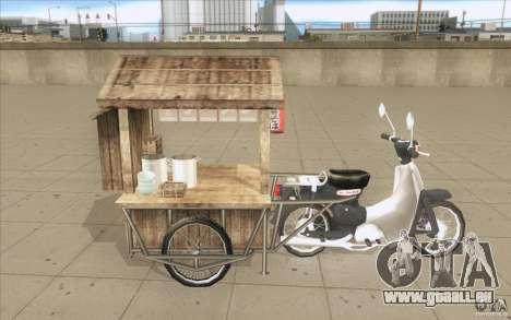 Honda Super Cub avec un chariot pour GTA San Andreas vue de côté