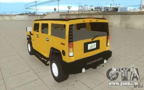 Hummer H2 pour GTA San Andreas sur la vue arrière gauche