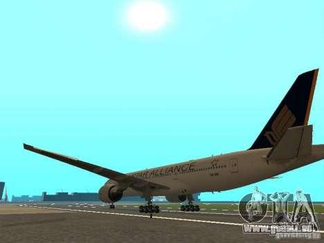 Boeing 777-200 Singapore Airlines pour GTA San Andreas sur la vue arrière gauche