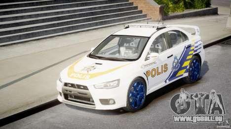 Mitsubishi Evolution X Police Car [ELS] für GTA 4 Rückansicht