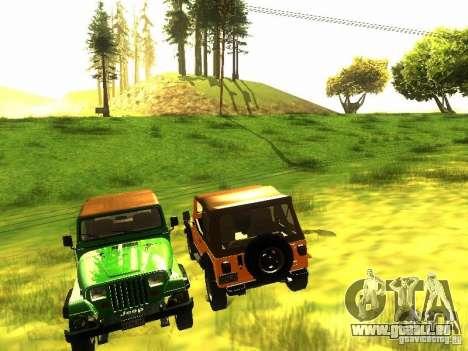 Jeep Wrangler Convertible für GTA San Andreas Innenansicht