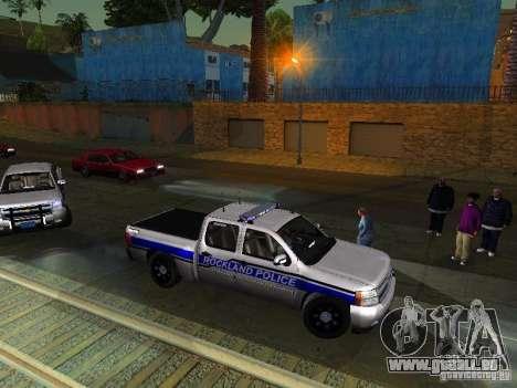 Chevrolet Silverado Rockland Police Department pour GTA San Andreas laissé vue