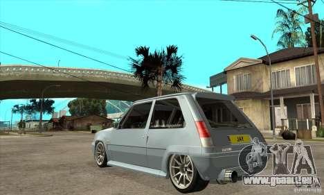 Renault 5 Tuned pour GTA San Andreas sur la vue arrière gauche