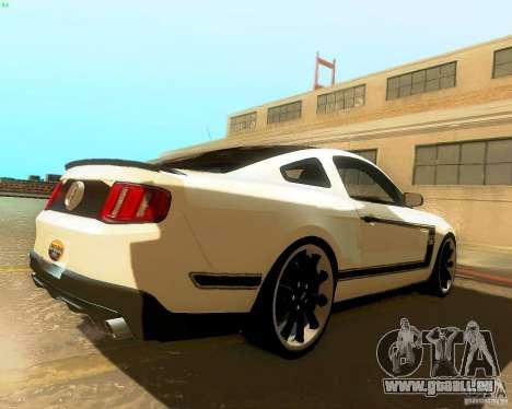 Ford Mustang Boss 302 2011 für GTA San Andreas zurück linke Ansicht