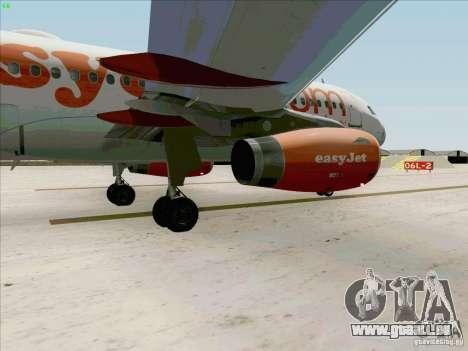 Airbus A319 Easyjet pour GTA San Andreas vue intérieure