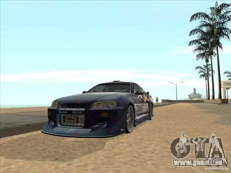 Nissan Skyline R34 VeilSide pour GTA San Andreas vue de droite