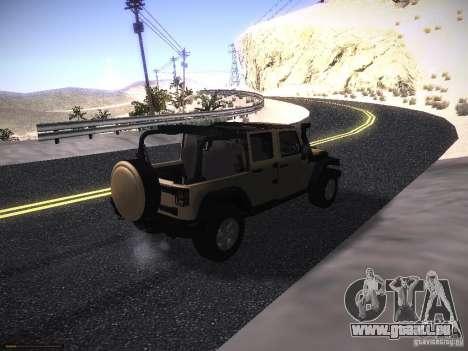 Jeep Wrangler Rubicon Unlimited 2012 pour GTA San Andreas sur la vue arrière gauche