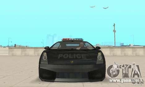 Lamborghini Gallardo Police pour GTA San Andreas vue arrière