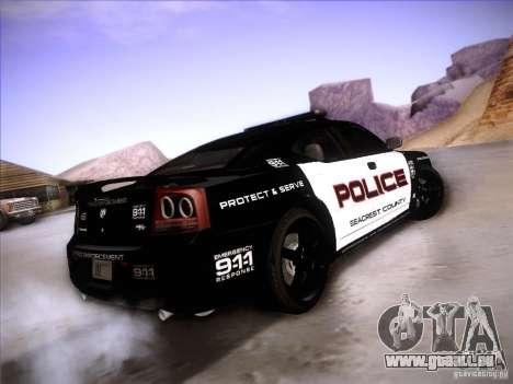 Dodge Charger RT Police Speed Enforcement pour GTA San Andreas sur la vue arrière gauche