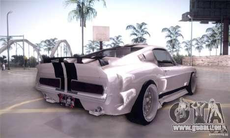 Shelby GT500 pour GTA San Andreas vue arrière