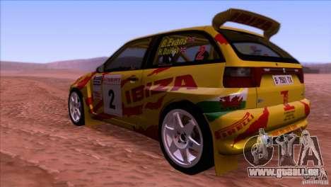 Seat Ibiza Rally für GTA San Andreas Rückansicht