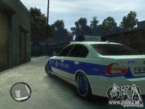 BMW 320i Police pour GTA 4 Vue arrière de la gauche