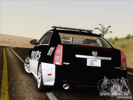 Cadillac CTS-V Police Car pour GTA San Andreas vue intérieure
