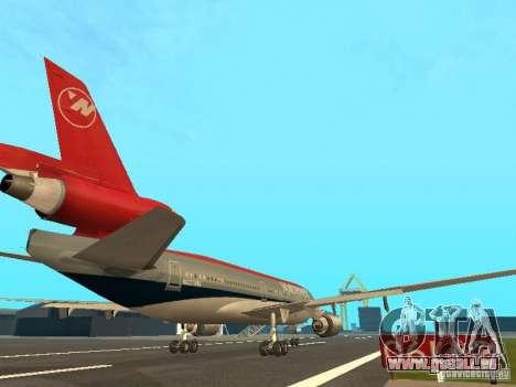 McDonell Douglas DC 10 Nortwest Airlines für GTA San Andreas Rückansicht