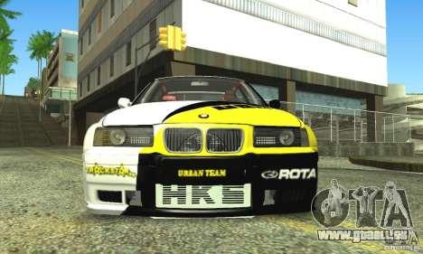 BMW E36 Urban Perfomance Garage pour GTA San Andreas vue arrière