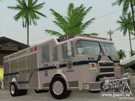 Pierce Fire Rescues. Bone County Hazmat für GTA San Andreas Motor