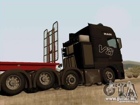 MAN TGX 8x4 pour GTA San Andreas sur la vue arrière gauche