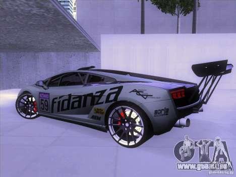 Lamborghini Gallardo Racing Street pour GTA San Andreas sur la vue arrière gauche