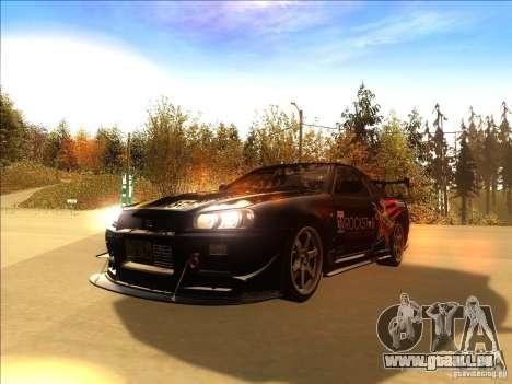 Nissan Skyline GT-R BNR34 Tunable pour GTA San Andreas vue de côté