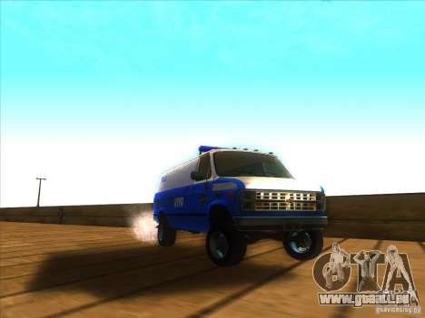 Chevrolet Van G20 BLUE NYPD 1990 für GTA San Andreas Rückansicht